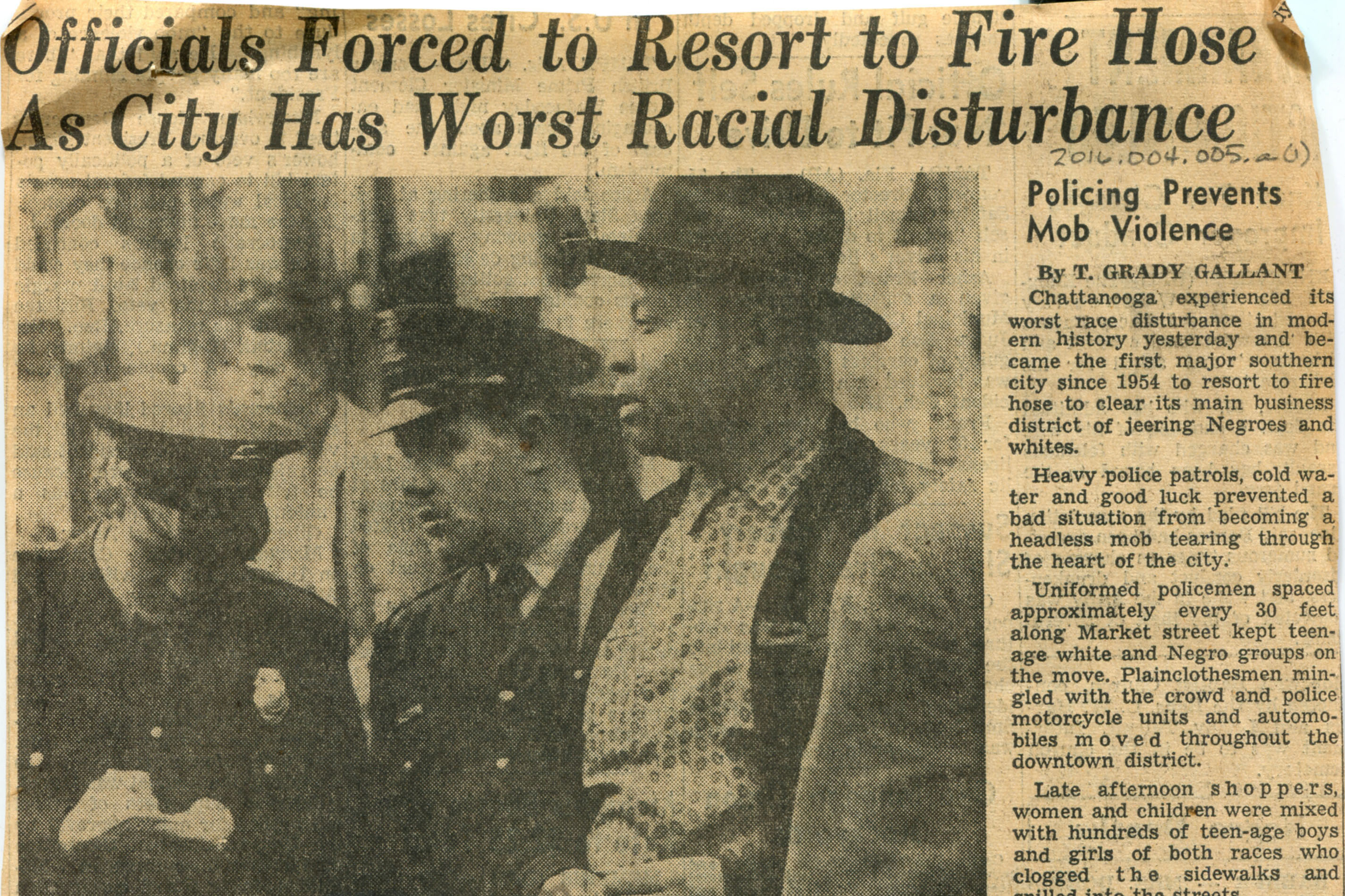 'Officials Forced To Resort To Fire Hose As City Has Worst Racial Disturbance' newspaper clipping, 1960 February 25, by the Chattanooga News-Free Press. Courtesy of the Chattanooga Public Library and the University of Tennessee at Chattanooga Special Collections.